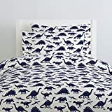 Carousel Designs Navy Dinosaurs Duvet Cover Twin Size - Organic 100% Cotton Duvet Cover - Made in the USA