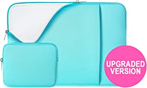 "RAINYEAR 13 Inch Laptop Sleeve Soft Lining Case Cover Bag with Pocket & Accessories Pouch,Compatible with 13.3 MacBook Pro Air/Retina/Touch Bar for 13"" Notebook Chromebook(Blue,Upgraded Version)"