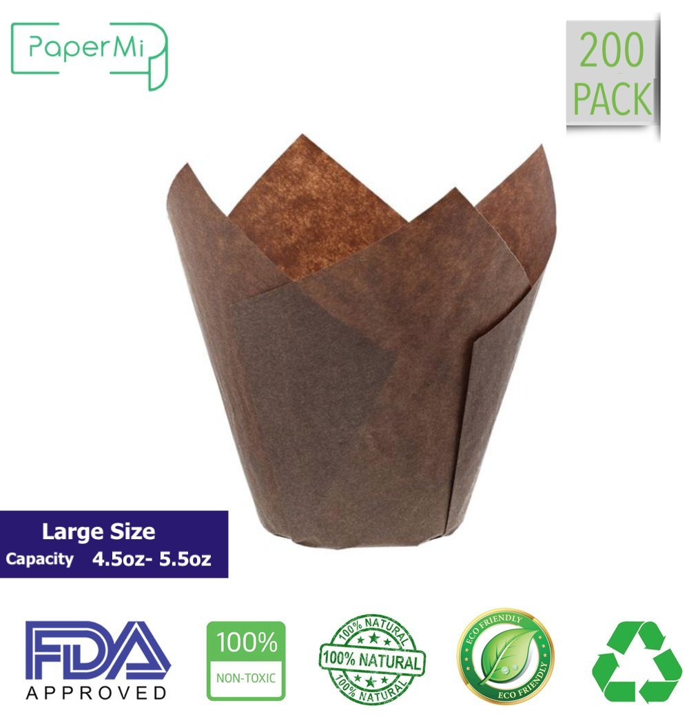 Brown Tulip Cupcake Liners, Large Size Paper Baking Cups, Tulip Cupcake Wrappers Providing a Beautiful Display, Natural & FDA Approved, Oz. Capacity: 4.5 to 5.5, Bulk of 200pc