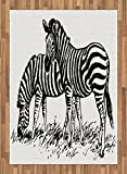 Africa Area Rug by Lunarable, Zebra Sketch Art Virtue Couple Eating Grass on Field Minimalist Zoo Nature Art, Flat Woven Accent Rug for Living Room Bedroom Dining Room, 5.2 x 7.5 FT, Black White
