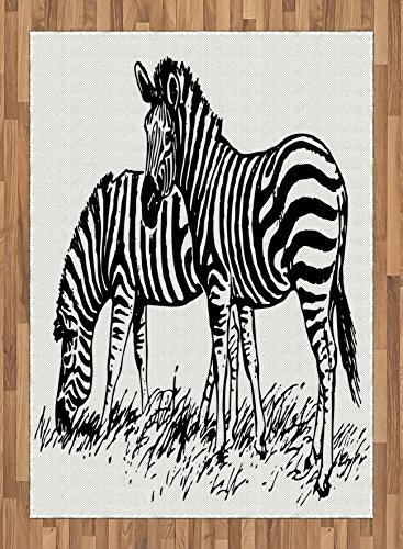Africa Area Rug by Lunarable, Zebra Sketch Art Virtue Couple Eating Grass on Field Minimalist Zoo Nature Art, Flat Woven Accent Rug for Living Room Bedroom Dining Room, 5.2 x 7.5 FT, Black White by Lunarable