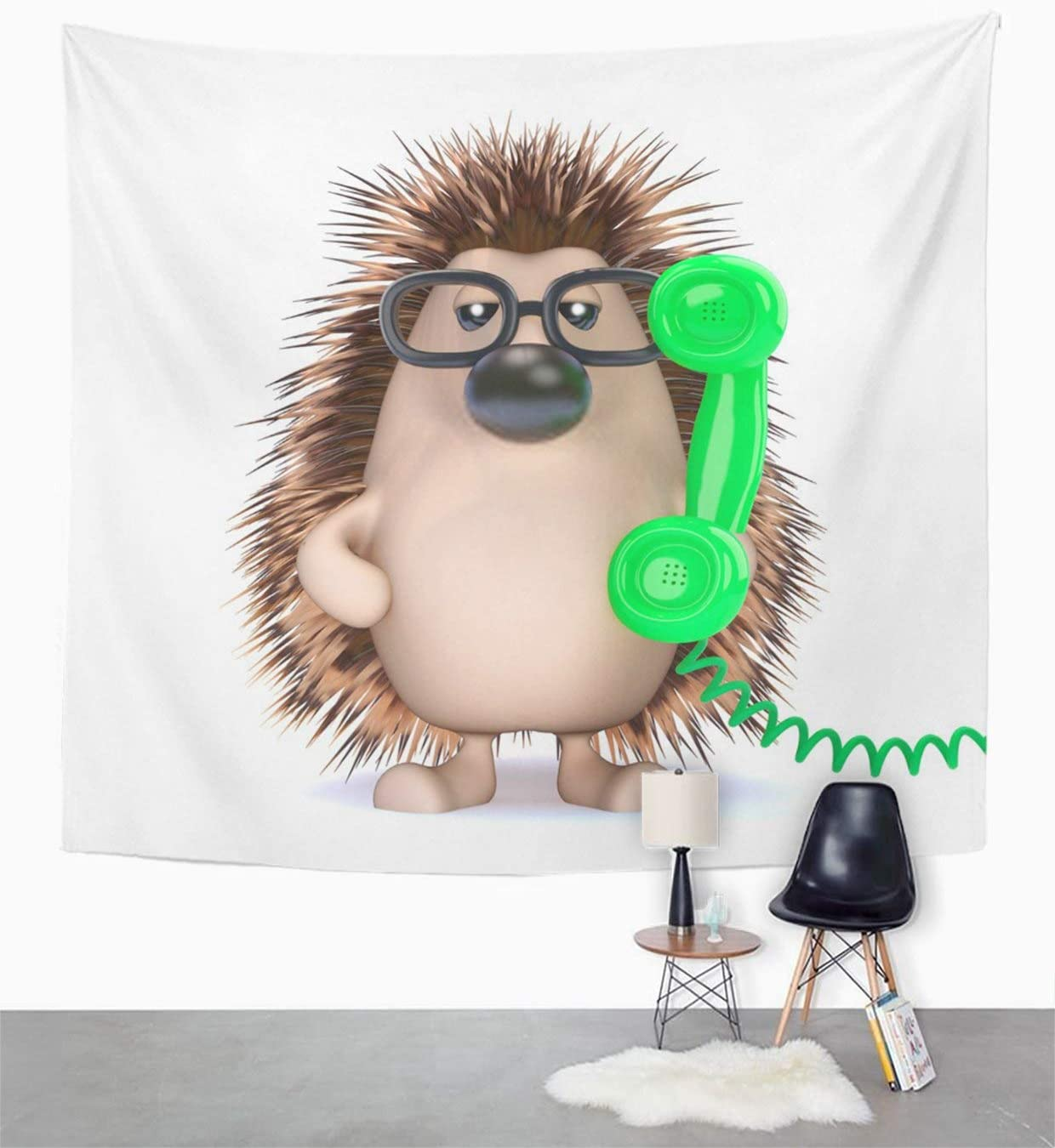 Houlor Tapestry Cute Hedgehog is The Phone Three Dimensional Wildlife Mammal Help Desk Cartoon Wall Hanging Art Print Home Polyester Decoration Apartment Bedroom Living Room Dorm Decor 50x60 Inches