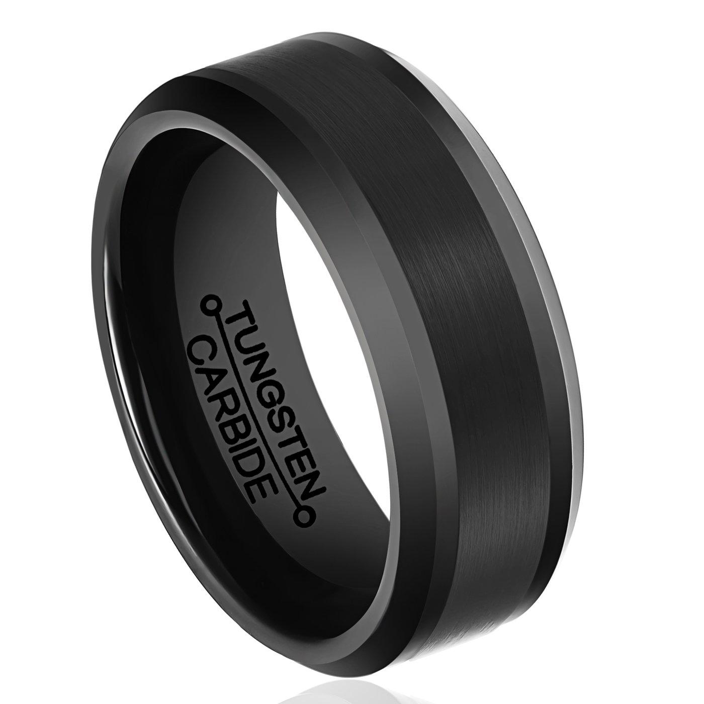 HSG Tungsten Rings for Men 8mm Black Plating Brushed Center Beveled Edge Wedding Band