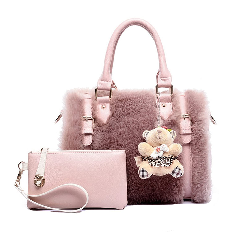 f2794d09f0 Marchome Women Faux Fur Leather Boston Handbag Crossbody Top Handle Bag  with A Wristlet Purse