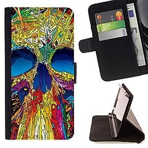 Momo Phone Case / Flip Funda de Cuero Case Cover - Cráneo de neón Monster Positivo Arte Esqueleto - Sony Xperia Z3 D6603