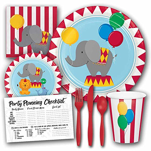 Circus Time Theme Birthday Party Supplies Set - Serves 8 Guests