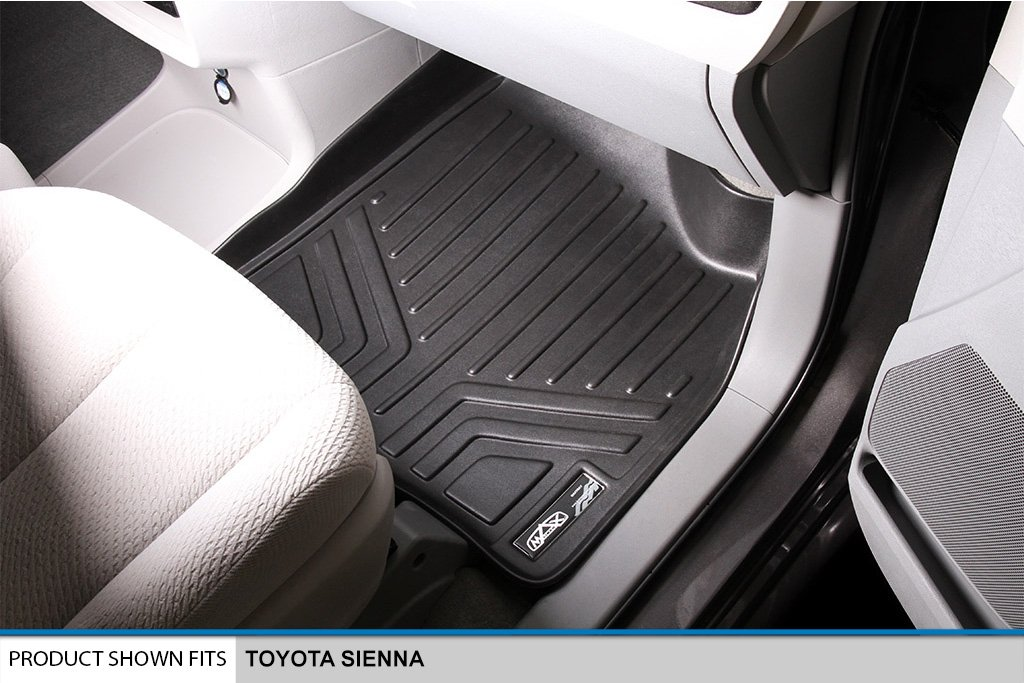 SMARTLINER Floor Mats 3 Rows and Cargo Liner Behind 3rd Row Set Black for 2013-2018 Toyota Sienna 8 Passenger Model