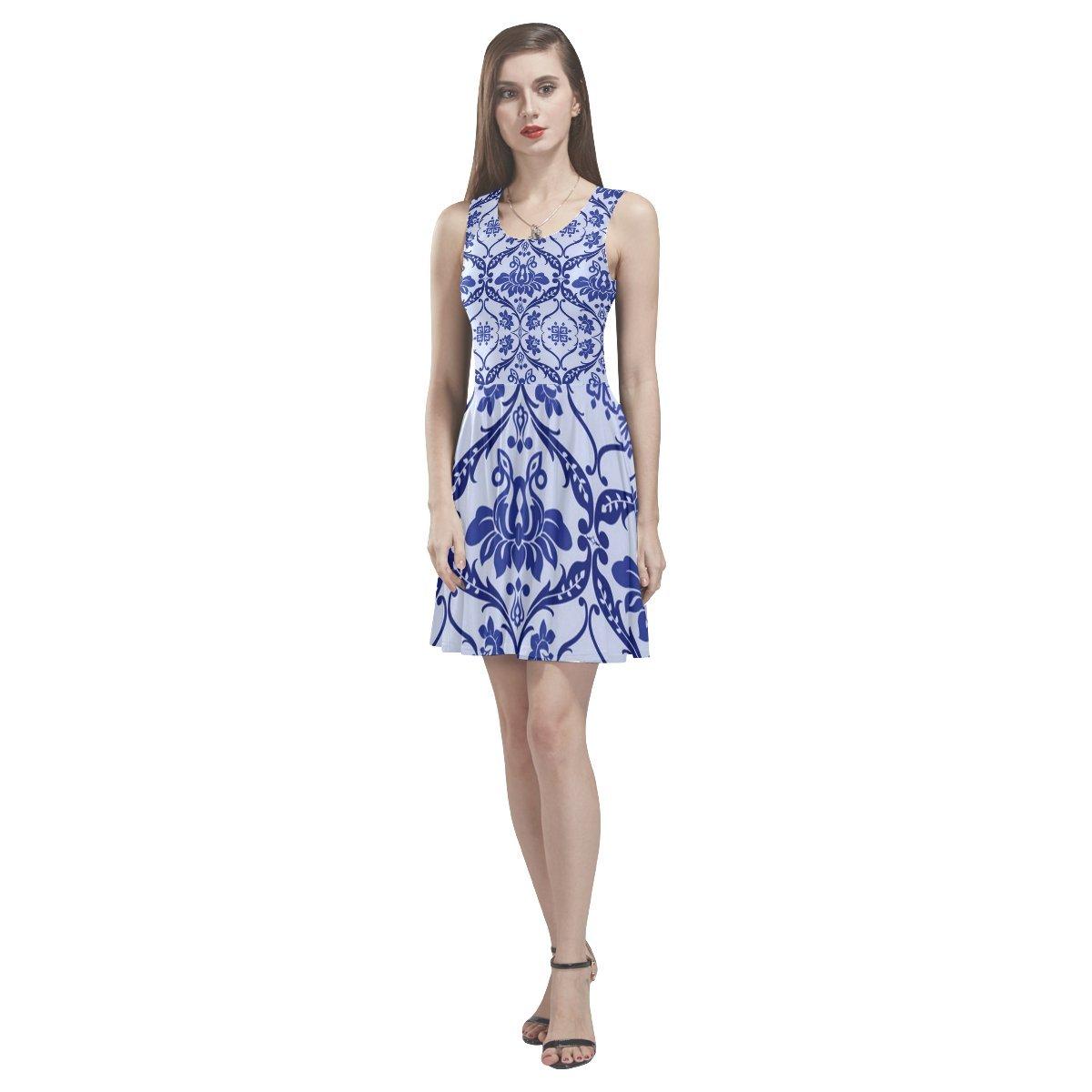 JC-Dress Sleeveless Dress Blue and White Flower Party Beach Skater Dress