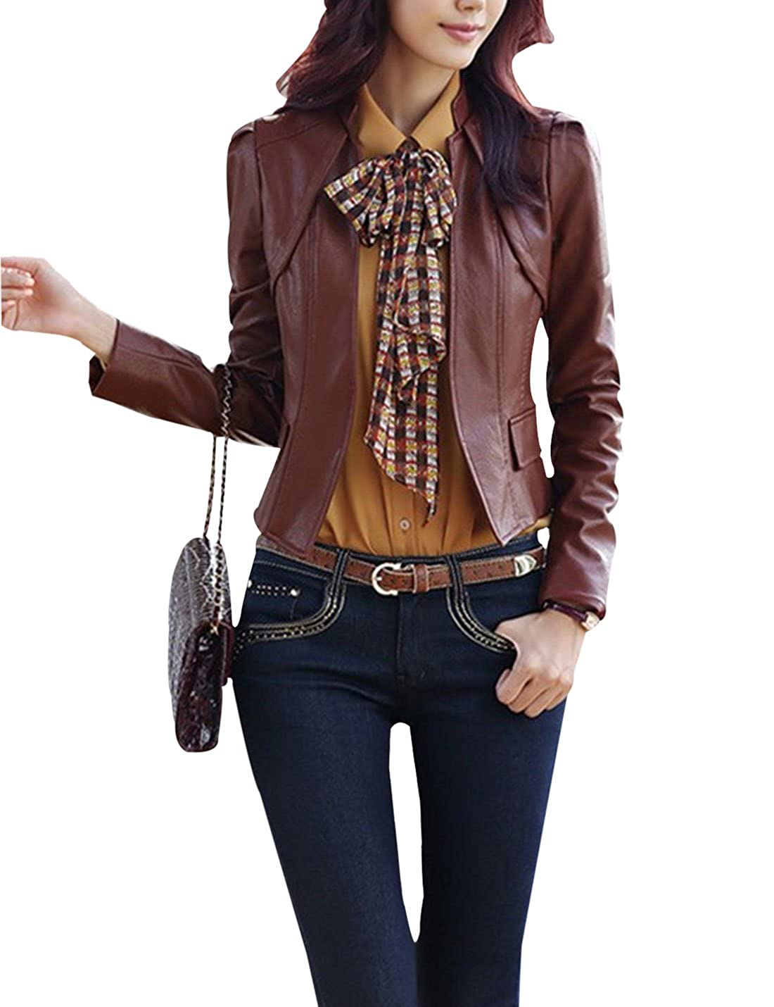 Yeokou Women's Solid Open Front PU Leather Moto Biker Slim Short Jacket Coat