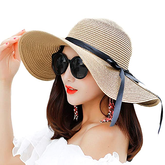 7d422a61646e70 Women Wide Brim Sun Protection Straw Hat for Outdoors Tavel Foldable UV  Protection Beach Cap Sun