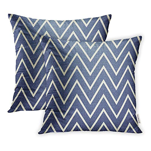 - Emvency Set of 2 Throw Pillow Covers Print Polyester Zippered Zigzag Pattern Abstract Geometrical Simple Creative Luxury Dress Label Tie Pillowcase 20x20 Square Decor for Home Bed Couch Sofa