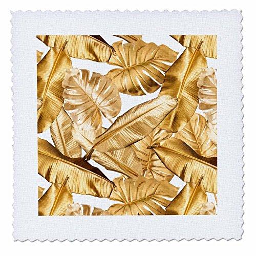 3dRose Uta Naumann Faux Glitter Pattern - Image of Trendy Chic Gold Foliage Aloha Tropical Leaf Pattern - 20x20 inch quilt square (Gold Hawaiian Quilt)