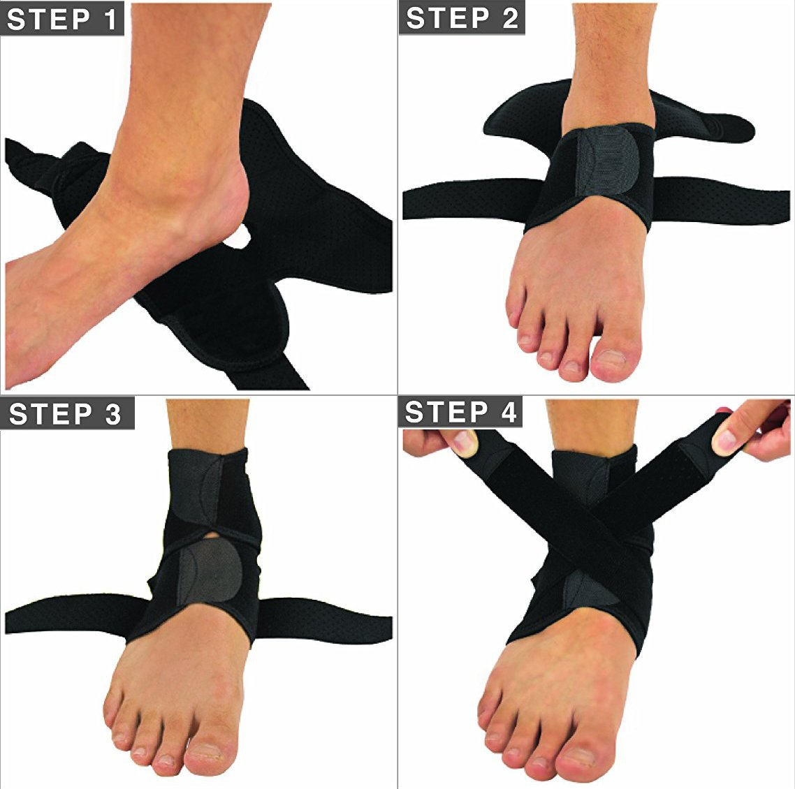 Ankle Sports Brace Support Ankle Sprains Bandage Free Adjustment Elasticity Protect Foot Ankle Breathable for Men Women 1 PACK YYVIGO (single)