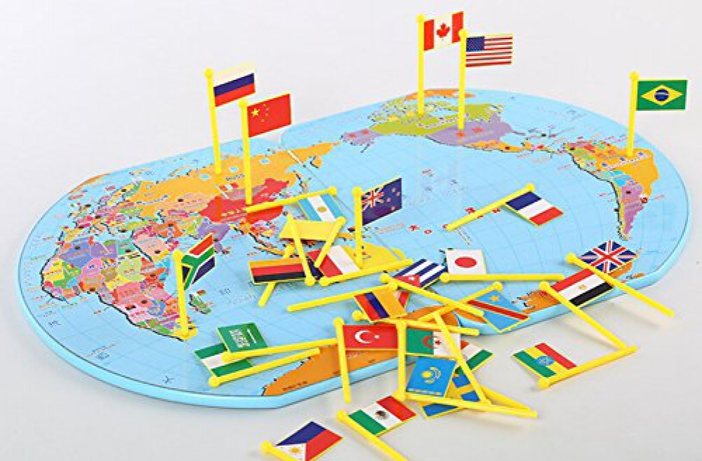 Buy wooden world map flag matching puzzle geography educational buy wooden world map flag matching puzzle geography educational toy gift for kids online at low prices in india amazon gumiabroncs Choice Image