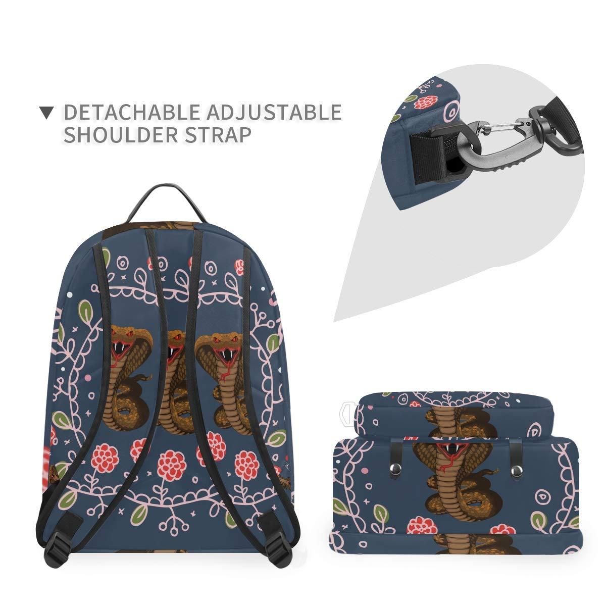 Snake Flower Shoulder Backpack Messenger Crossbody Laptop Bag Student Bookbags for Kid Girls Boys