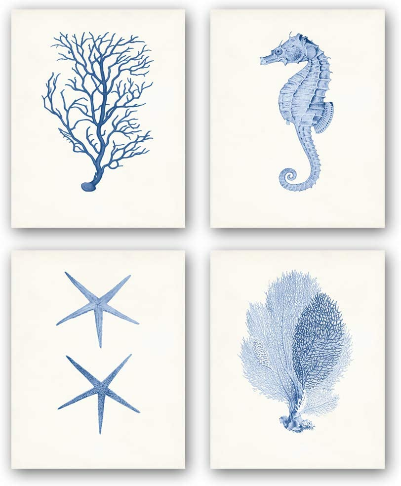 "Unframed Ocean Animals Art Print Cute Sea Life Art Painting, Watercolor Abstract Seaweed Seahorse Corals Starfish Art, Set of 4(8"" x10"" )Canvas Funny Posters For Kids Bathroom or Nursery Decor"