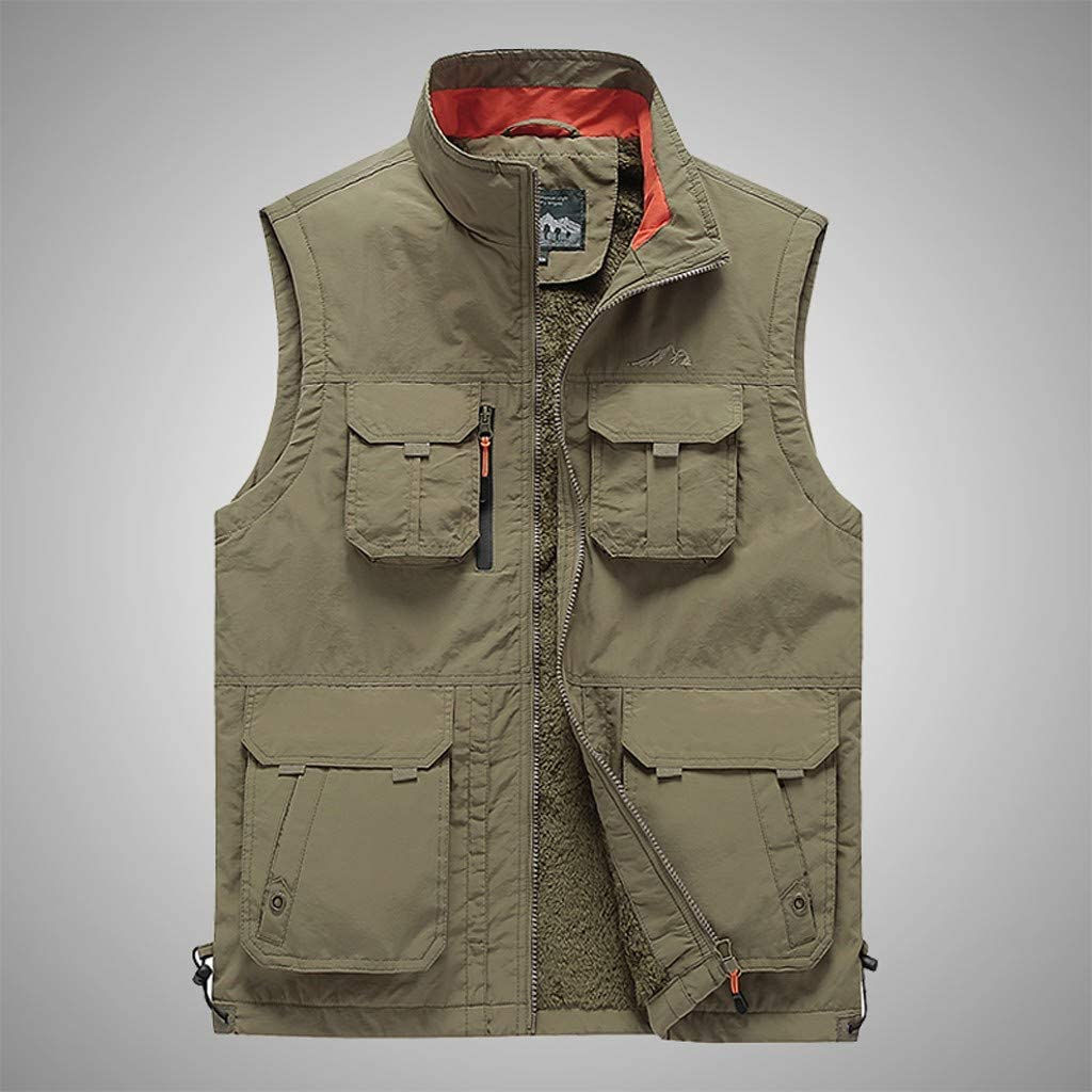 Zipper Coat Vest Padded Men Unisex Winter Casual Overcoat Puffer Heated