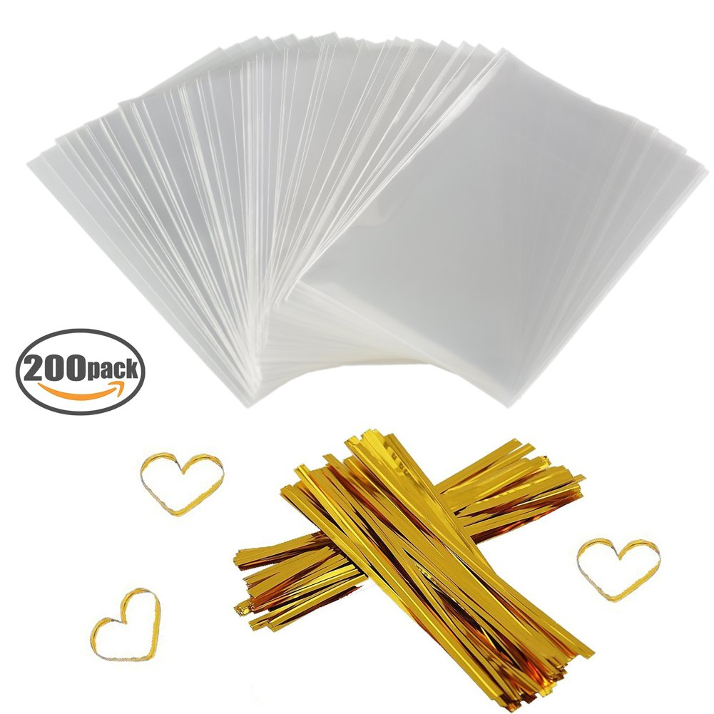 Amazon.com: Clear Treat Bags 100 PCS (6\'\'by 8\'\') Cellophane Bag ...