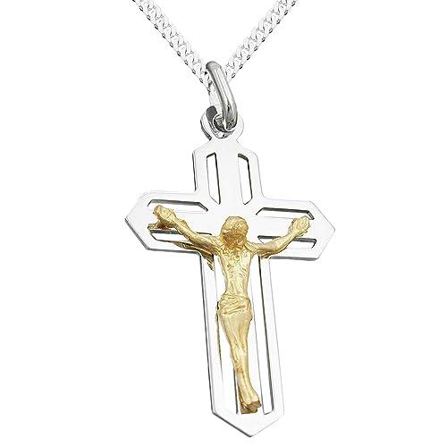 Löb Kette 925 Silber Mit Kreuz Anhänger Jesus 45cm Lang