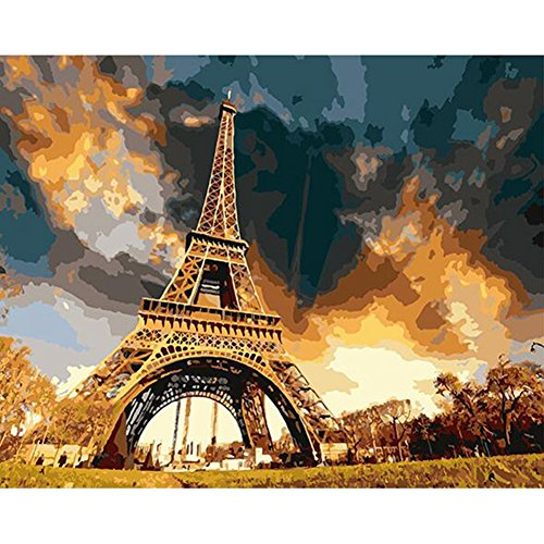 Wivilly Children's DIY Oil Painting By Numbers Kits,Eiffel Tower Romantic Paris Landscape 12 X 16 inch,Acrylic Colorful Drawing Educational Toys for Kids to Draw on Canvas