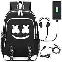 Deeumy Unisex DJ Marshmello Mochilas Escolares, Schoolbag Mochila para portátil Bolsa Fresca para Adolescentes Mochila Casual Bolso de Viaje con USB Puerto (Negro 3)