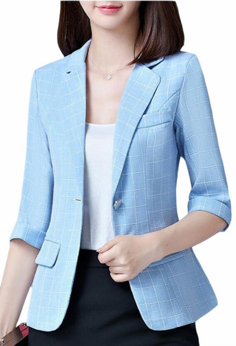 Hot Brd-UK Women's Open Front One Button Versatile Checkered Blazer