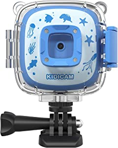 Dragon Touch Kids Camera Kidicam 1080P Action Camera 100 feet Waterproof Camera Blue