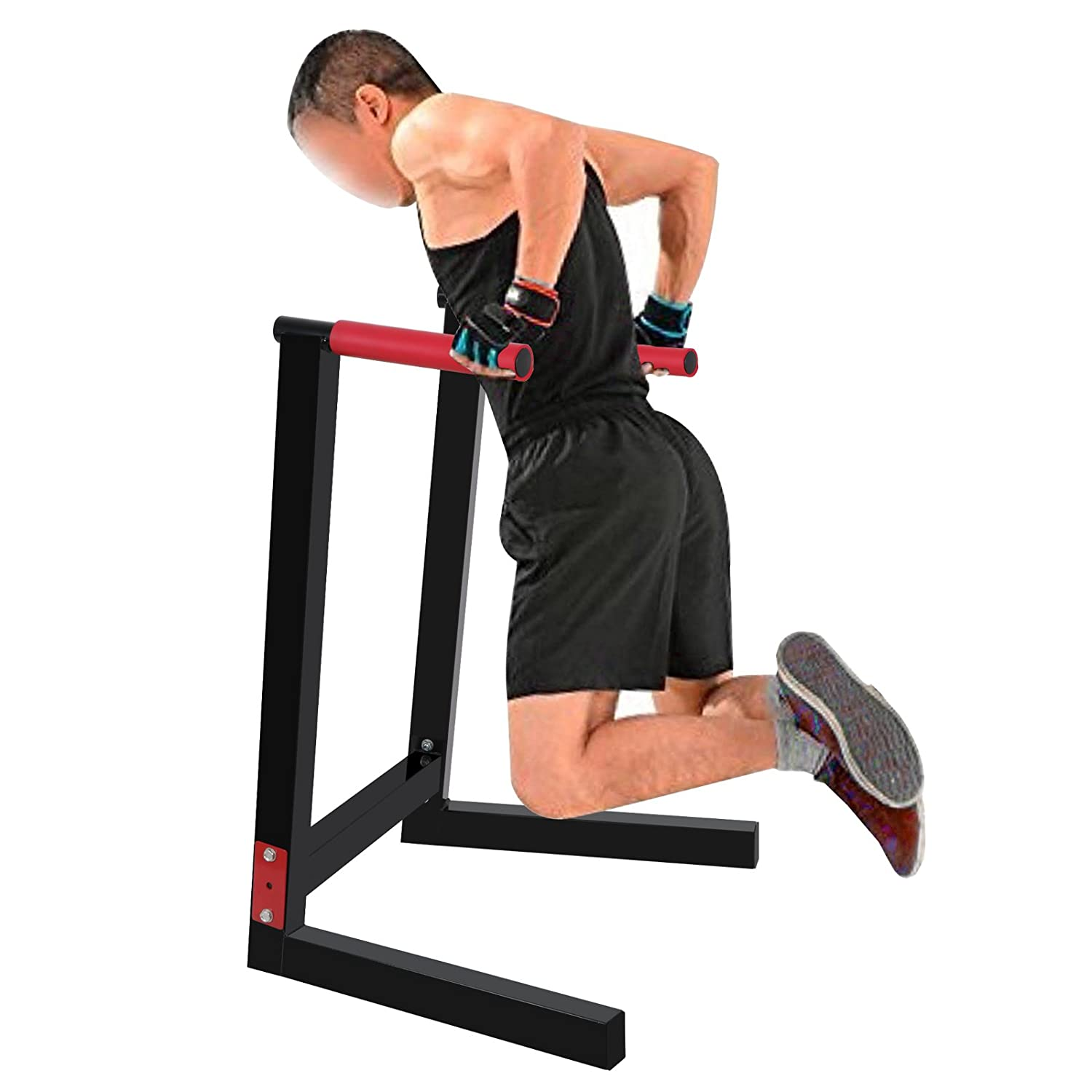 F2C Deluxe Multifunction Heavy Duty Bicep Tricep Exercise Training Parallel Bar Dipping Station Bars Self Standing Dip Bar Stand W Red Rubber Padded Grips