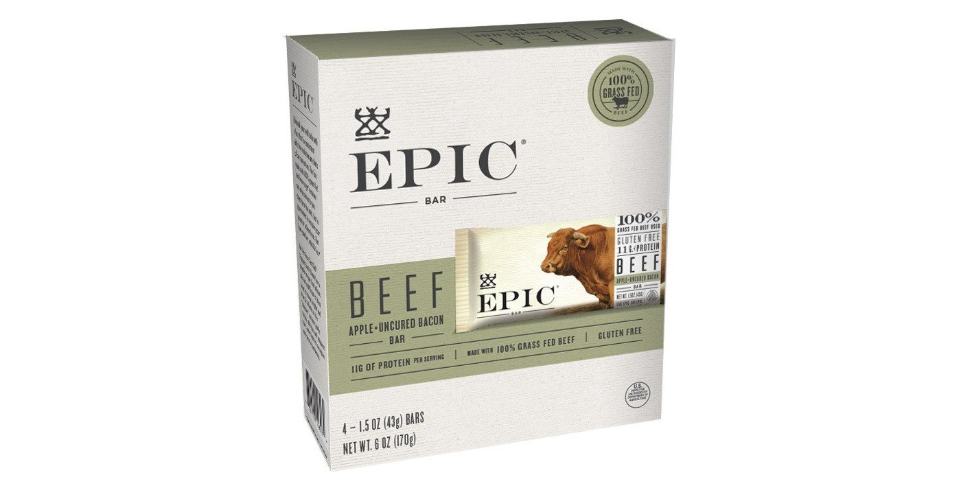 EPIC Beef Apple Uncured Bacon Nutrition Bar 6oz(1.5oz x 4), pack of 1