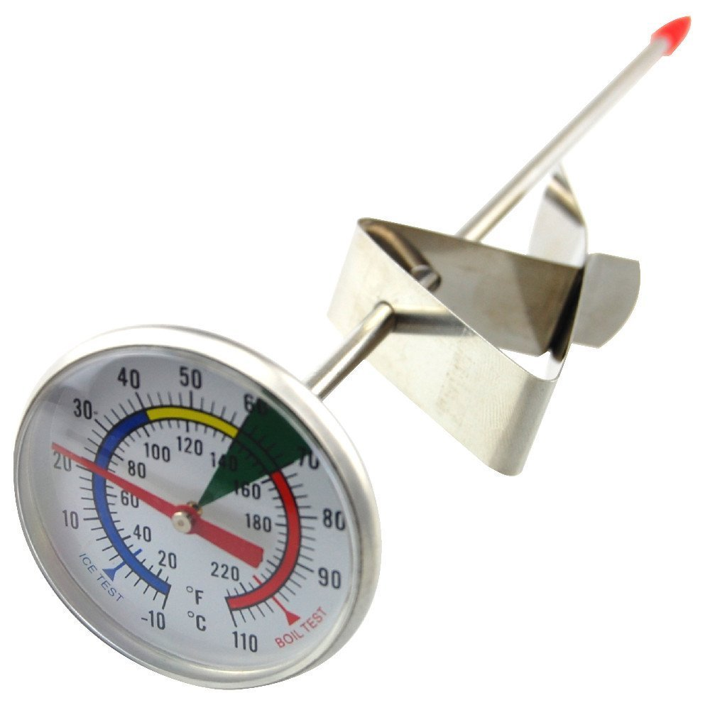 Frothy Milk Thermometer With 175mm Stainless Steel Probe and Clip Barista Coffee Thermometer World LEUKBALG4791