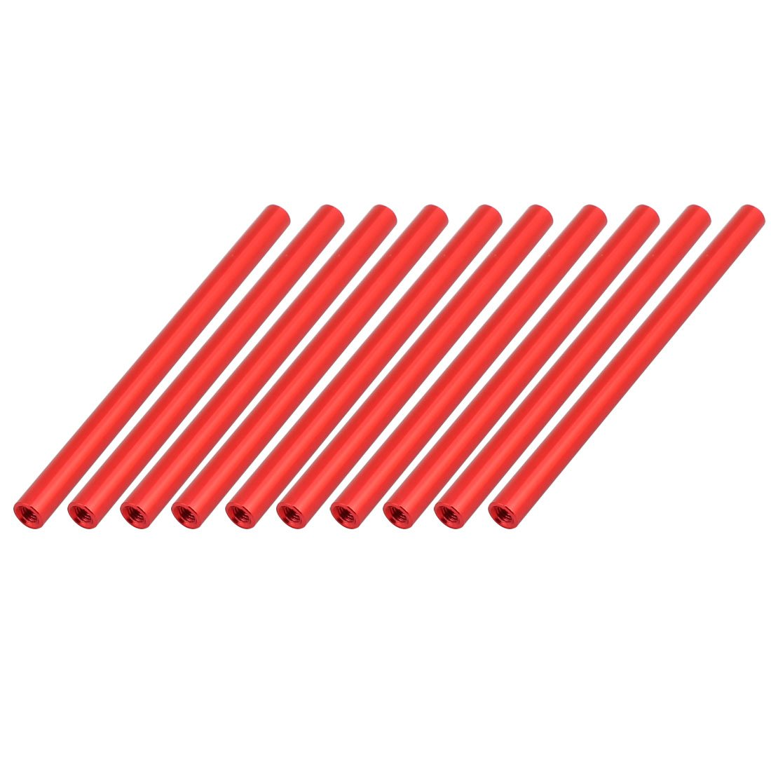 uxcell 10 Pcs M3 x 75mm Round Aluminum Column Alloy Standoff Spacer Stud Fastener for Quadcopter Red