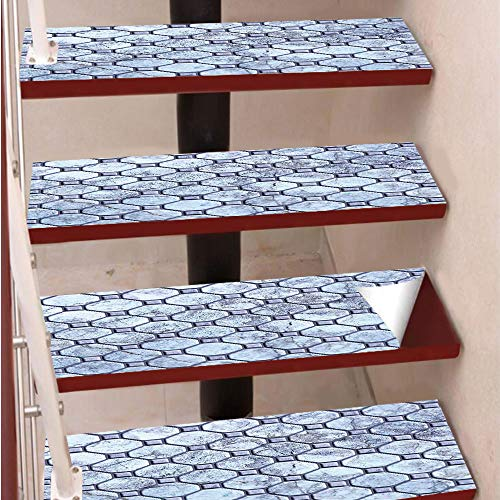 3D Print Non-Slip PVC Stair Pads,Self-Adhesive Steps Sticker,Staircase Treads Protector,Retro Marble Tiled Spiral and Round Circular Bound Tied Old Fashion Shapes Design,for Home Decoration(9.8X39cm)