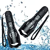 Juzihao Zoomable Flashlight JM-T6 Super Bright 1000 Lumens 5 Modes Mini CREE LED Handheld Flashlights Portable Outdoor Water Resistant Torch Ultra Bright Tactical with Adjustable Focus and 5 Light Modes for Hiking, Biking, Camping and other Outdoor Sports(2 pack)
