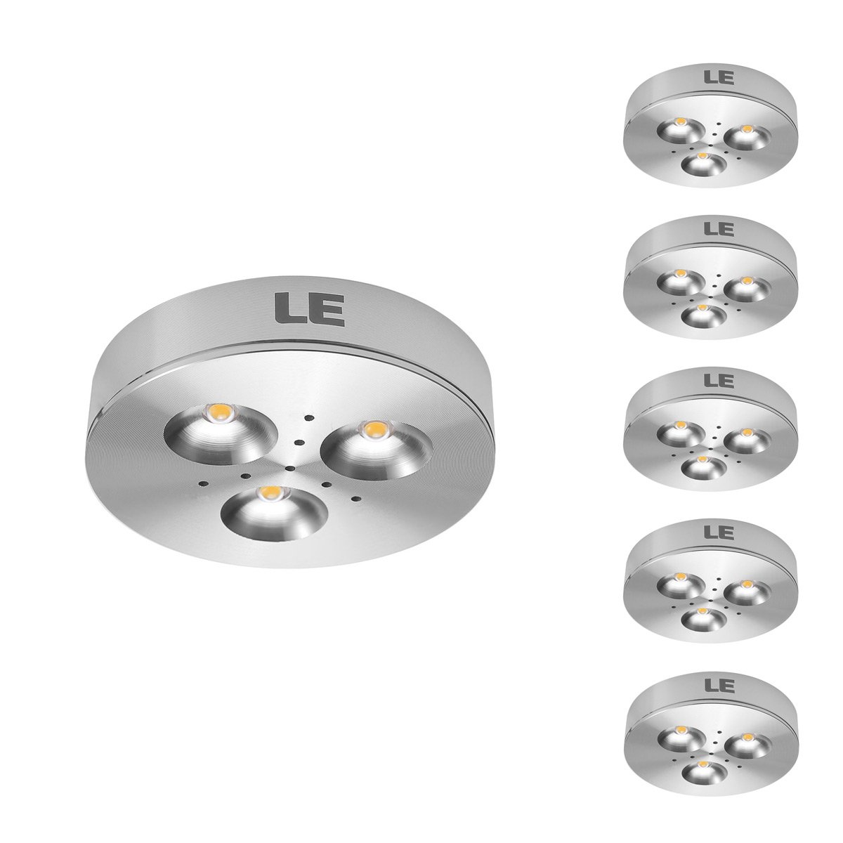 Le 5 pack led under cabinet lighting brightest puck lights 12v dc le 5 pack led under cabinet lighting brightest puck lights 12v dc under counter lighting 25w halogen replacement 240lm warm white amazon mozeypictures