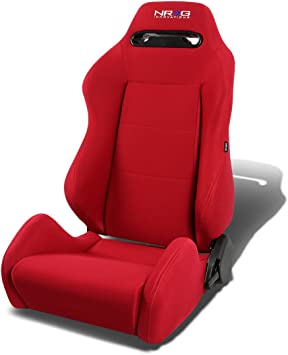 Black, Left NRG RSC-200-NRG Type-R Universal Racing Seat With Red Stich /& NRG Logo