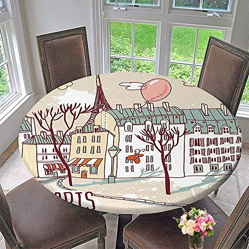 Round Polyester Tablecloth Table Cover Collection Illustration of Paris with Old City Buildings and Eiffel Urban Street Balloon for Most Home Decor 67
