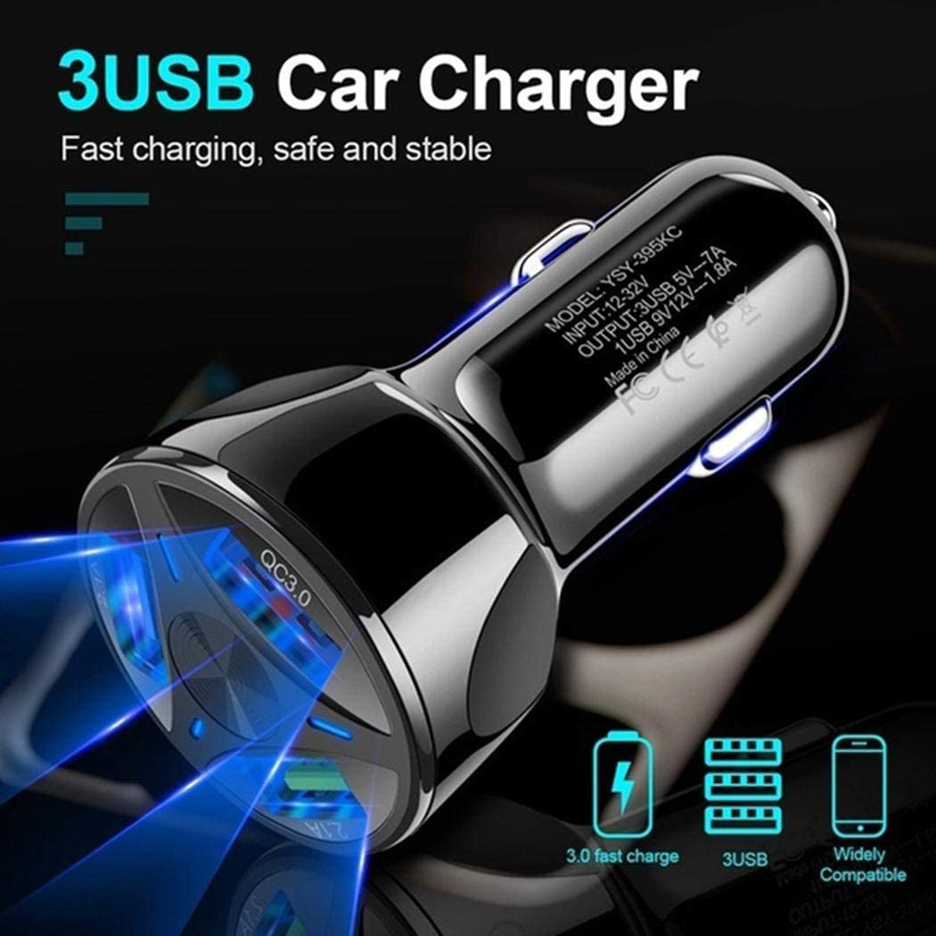iPads Cameras Power Banks and All USB Charging Devices QC3.0 3-Port USB Car Power Charger Adapter Compatible with cellphones Yealsha Car Charger