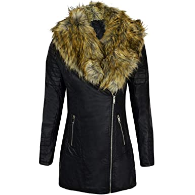 Fashion Thirsty Womens Ladies Faux Leather Fur Collar Long Biker