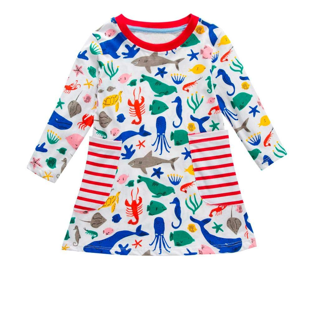 Dinlong Toddler Baby Girls Dress Casual Cloth Long Sleeve Cartoon Striped Outfit Din_95