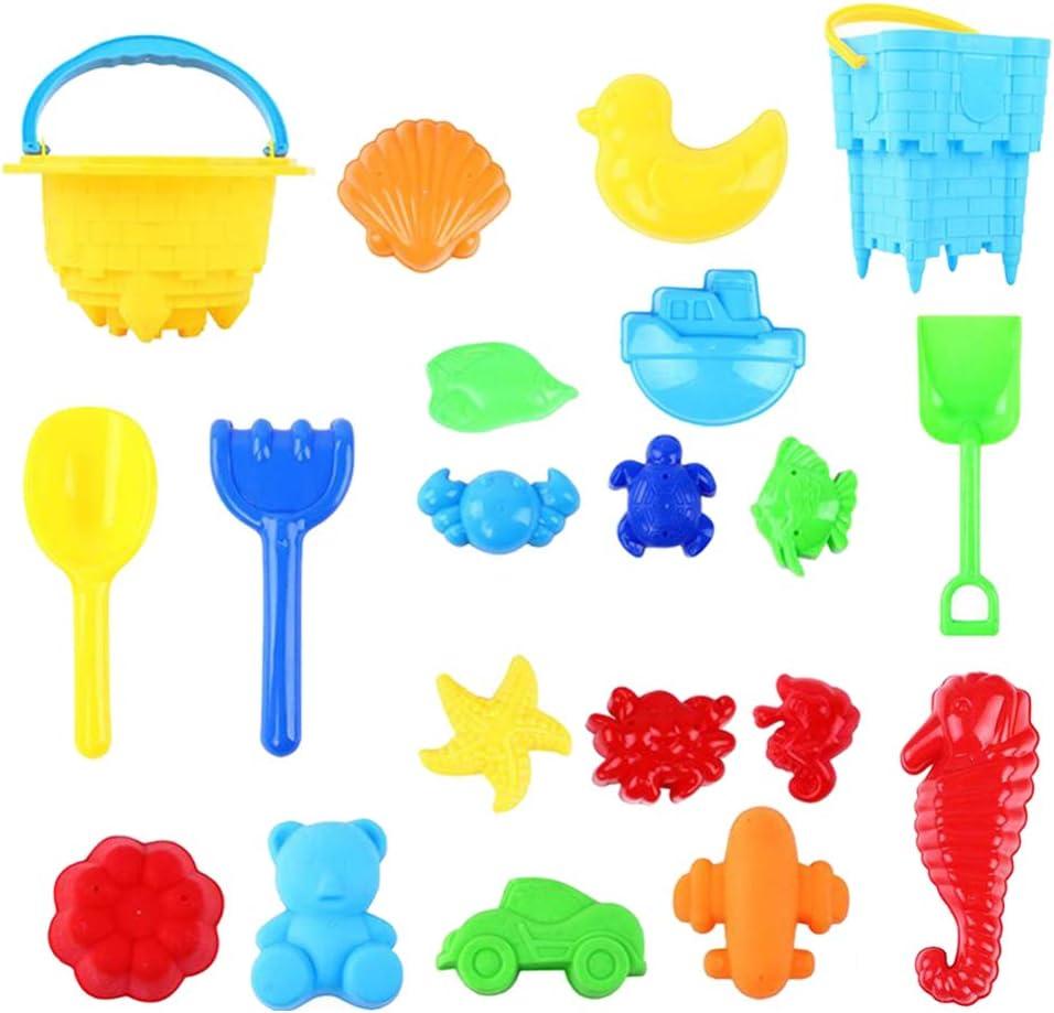 TOYANDONA 20 Piezas de Juguetes de Playa Juego de Plástico Portátil Pala de Playa Juego de Arena Camión Volquete Cubo de Arena Juguetes de Playa para Niñas Niños