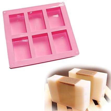 6-con-Plain aprox{6} por ciento descuento + incluye-envío de cuadros Rectángulo de base silicona jabón molde moldes de fundición sin colada jabón molde ...