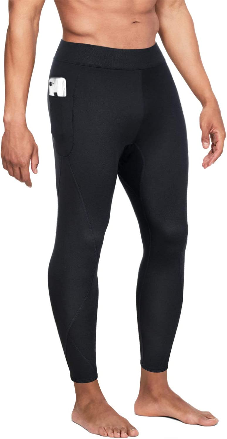 Wonderience Men Hot Neoprene Sauna Sweat Pants Slimming Body Shaper for Weight Loss Hot Thermo Leggings Workout Pants