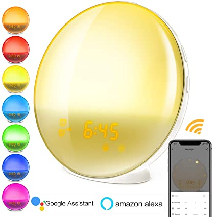 Smart Wake-Up Light | WiFi Sunrise Alarm Clock Compatible with Alexa and Google, 8 Colored Sunrise Simulation & Sleep Aid Feature, FM Radio, 7 Natural ...
