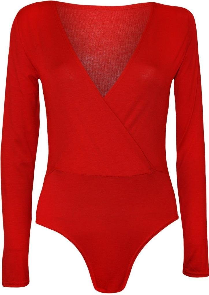 Commencer Womens Long Sleeve Cross Over Wrap Stretch Bodysuit Leotard Top RED-L/XL