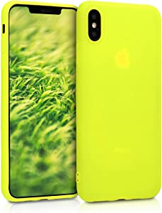 kwmobile TPU Silicone Case Compatible with Apple iPhone Xs Max - Soft Flexible Protective Phone Cover - Neon Yellow