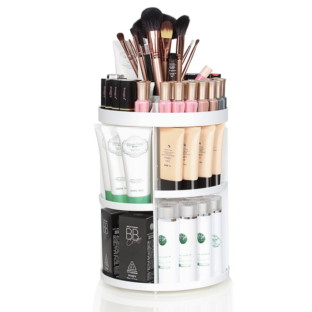 360 Degree Rotatable Makeup Organizer, Large Capacity, DIY Detachable Cosmetic Storage Box, Great for Fits Toner, Creams, Makeup Brushes, Lipsticks and More, White