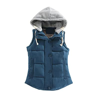 Ladies Hooded Quilted Gilet Bodywarmer zip up Jassen, vesten pockets light waistcoat