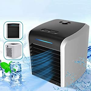 Best4UrLife Portable Mini Air Conditioner Cooler,Personal Air Conditioner Fan,Cooling, Dehumidifying, Fanning, Sleeping Mode, Time Settings,Water Full Indication with 7 Colors Light (Black, 1x)