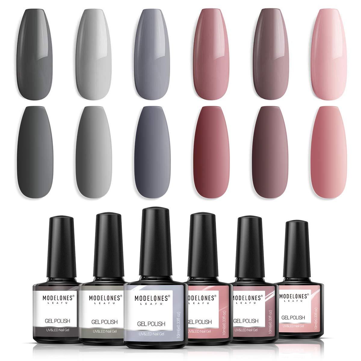 Modelones Gel Nail Polish Set - Nude Gray Series 6 Colors Gel Polish Set Kit, UV LED Soak Off Gel Polish, 0.33 OZ 10ML by modelones