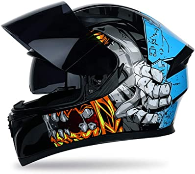 TKUI Mopedhelm Motocross Helm Herren Integralhelm Sonnenschutzhelm Set Damen Fullface Motorrad DH Cross Offroad Enduro Mountainbike Helme mit Visier Brille Handschuhe Maske
